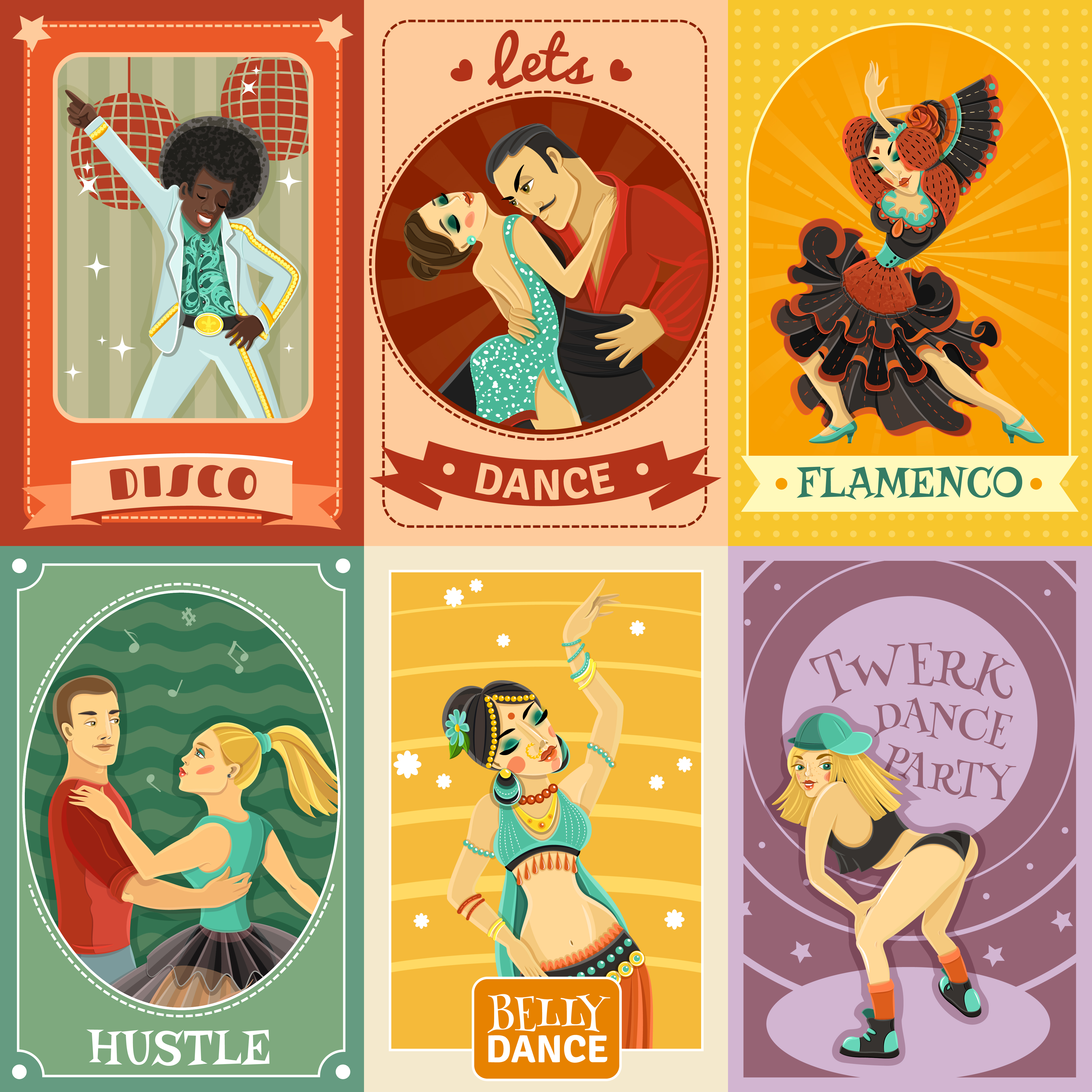 Vintage Dance Flat Icons Composition Poster - Download ...