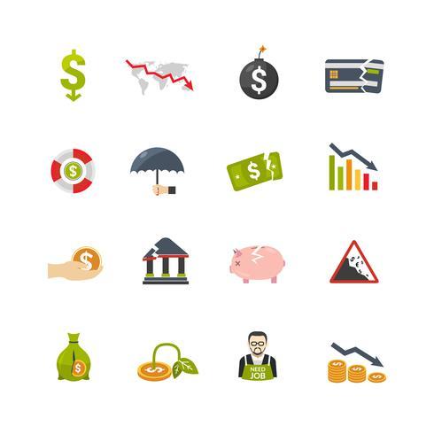 Set di icone piane di crisi finanziere