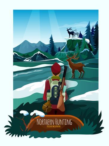 Nördliche Landschaftsnatur-Jagd-Plakat-Druck