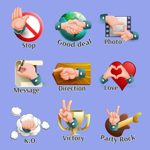 Conjunto de emblemas de gestos sociais da Web