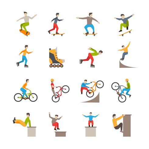 Icone di sport urbani di vettore con le persone