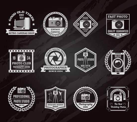 Conjunto de emblemas de pizarra de industria de fotos