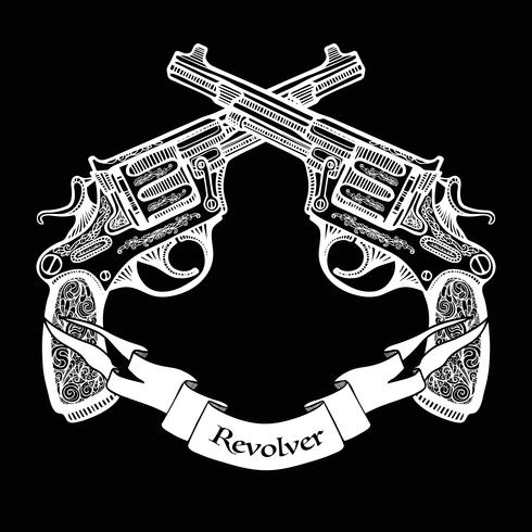 Hand Drawn Crossed Pistols With Ribbon