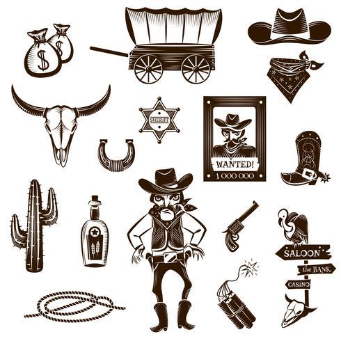 Conjunto de iconos de vaquero negro blanco