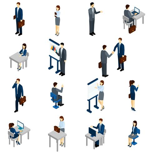 Business People Isometric Set vector
