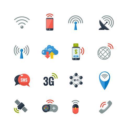 Draadloze technologie plat pictogrammen instellen vector
