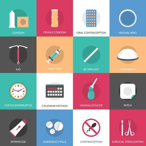 Conjunto de ícones de métodos de contracepção