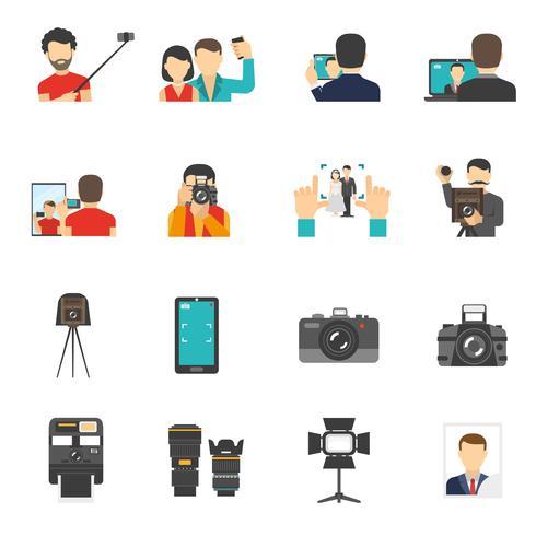 Fotografie pictogrammen instellen vector