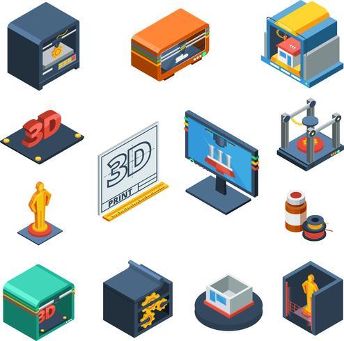 Isometrische Ikonen-Sammlung des Druckens 3D