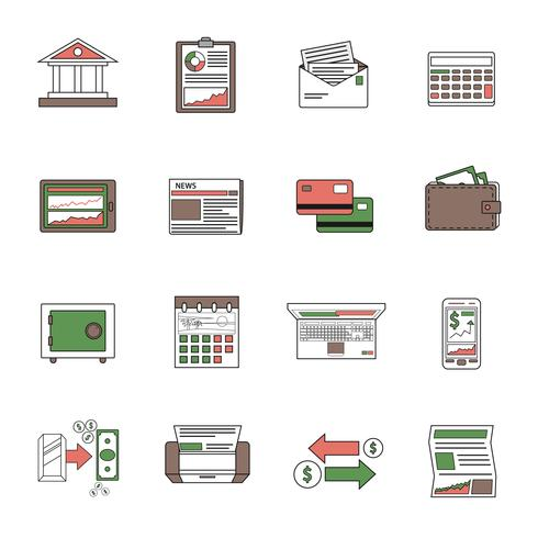 Contorno de ícones do banco vetor