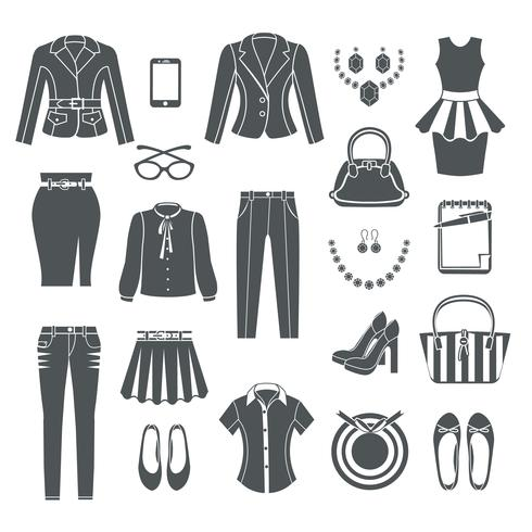 Modern Woman Clothes Black Icons