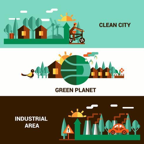 Set di banner orizzontale ecologia piatta