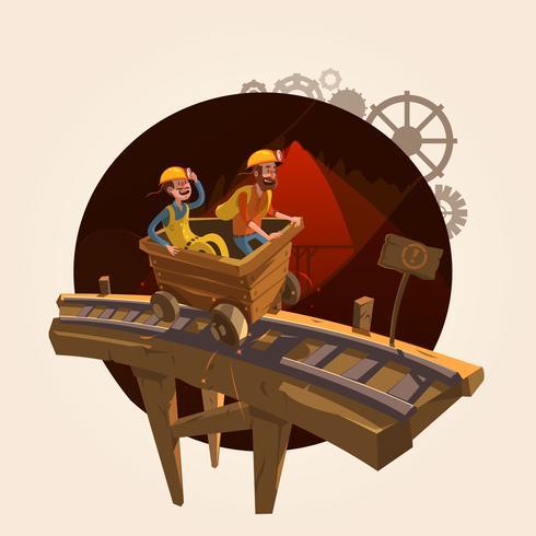 Concepto de dibujos animados de mineria