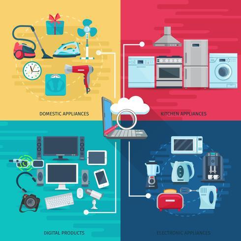Huishoudelijke pictogrammen samenstelling vierkante concept vector