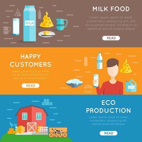 Set di banner piatto latte vettore