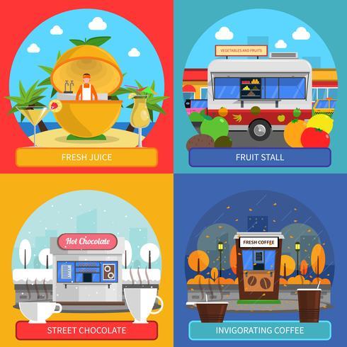 Set di icone di concetto di cibo di strada