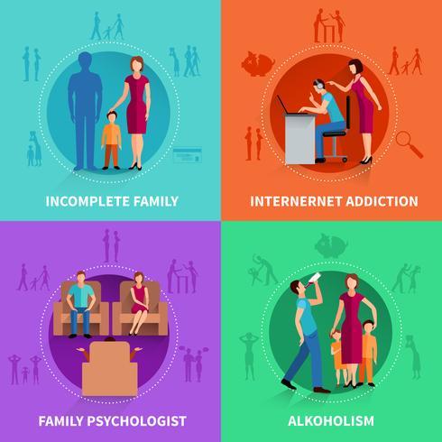 Conjunto de conceito de Design de conflito familiar