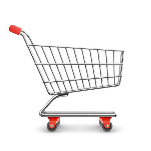 Shopping cart realistic vector