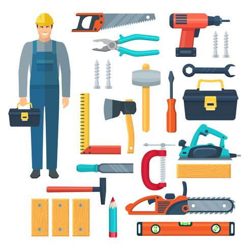 Carpentry Flat Color Icons Set vector