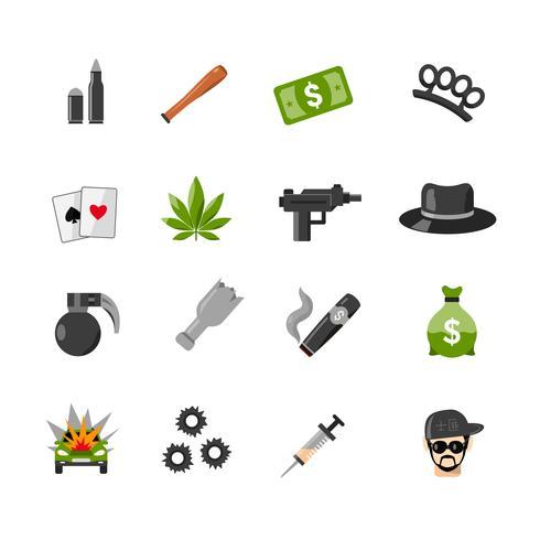 Flat geïsoleerd gangster pictogrammen