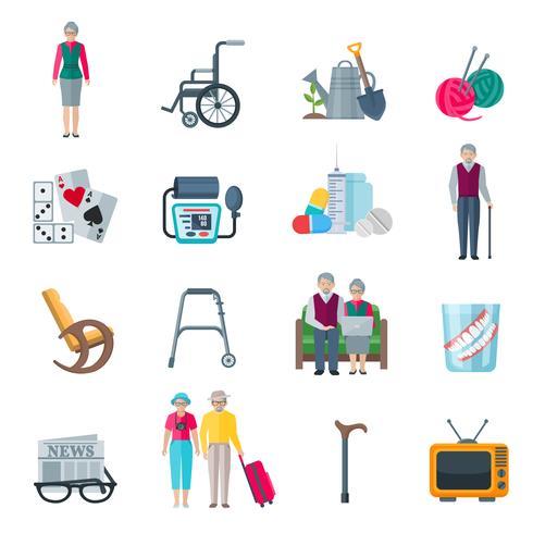 Iconos planos de estilo de vida de jubilados vector