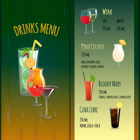 Menu do Bar Cocktail