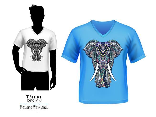 Bandera del diseño de la camiseta del doodle del elefante indio