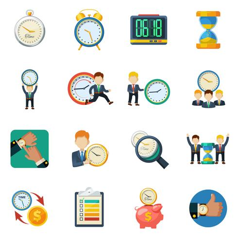Tijd beheer vlakke pictogrammen instellen
