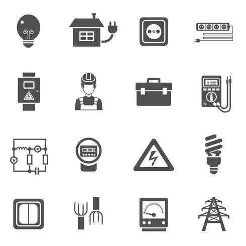 Elektricitet Svart Vit Ikoner Set