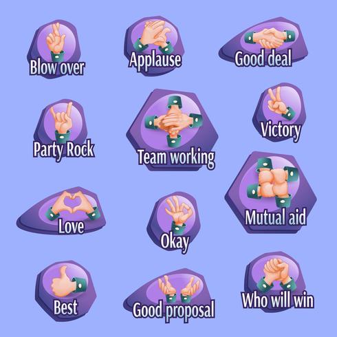 Conjunto de emblemas de gestos sociais vetor
