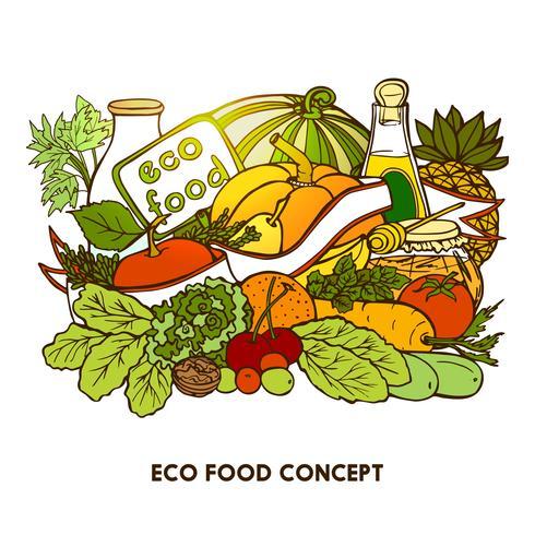 Hand getrokken Eco Food Concept