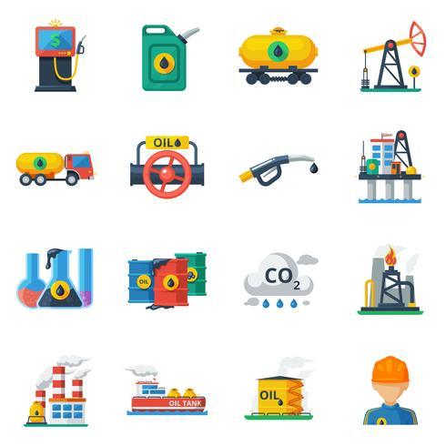 Ensemble d'icônes de l'industrie pétrolière vecteur