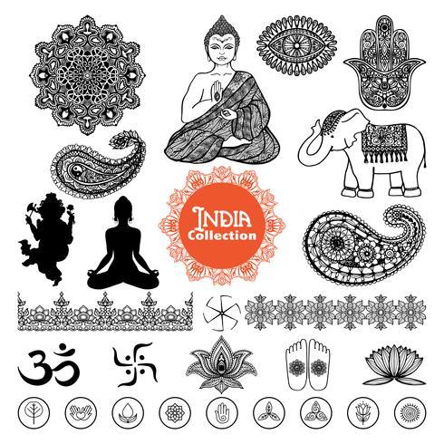 Ensemble d'éléments de conception Inde dessinés à la main vecteur