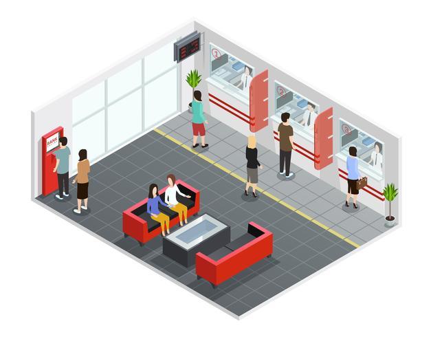 Leute in der Bank isometrische Illustration