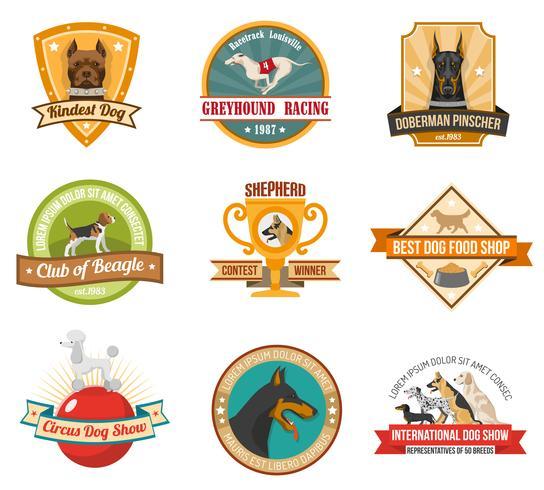 Set di emblemi di cane vettore