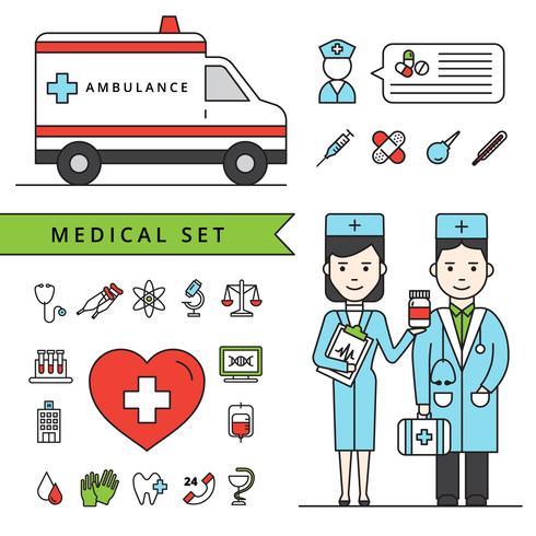 Concetto di medicina impostato con ambulanza e medici vettore
