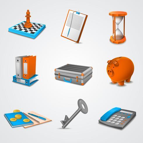 Iconos realistas de negocios