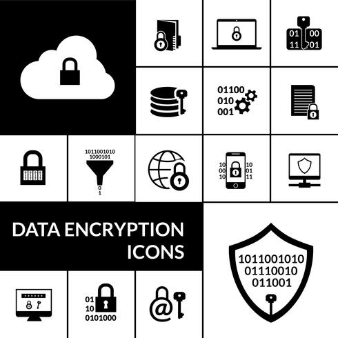 Data Encryption Black Icons Composition Banner