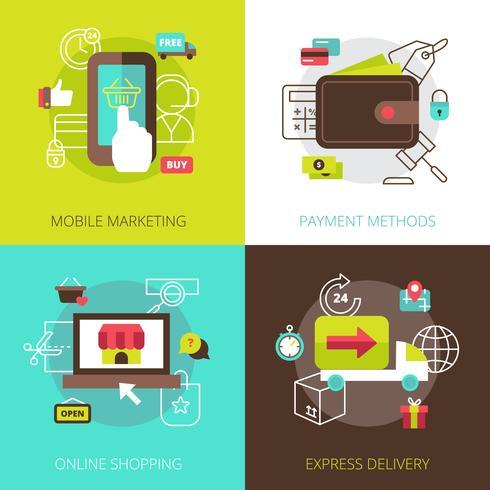 Concepto de compra en línea 4 iconos planos