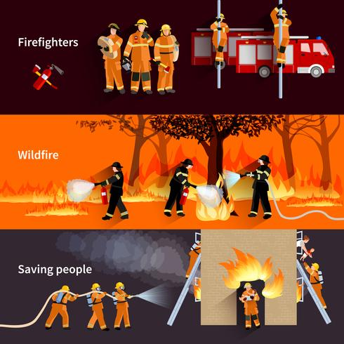 Horizontale Firefighter People Banners Set