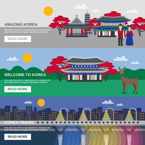 Koreansk kultur 3 Flat banderoller Set