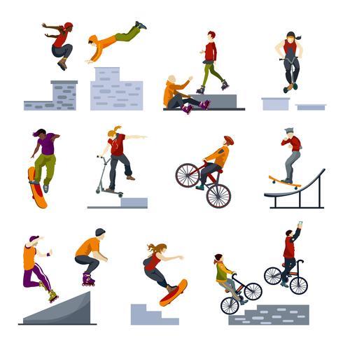 Extreme stad sport vlakke pictogrammen instellen vector