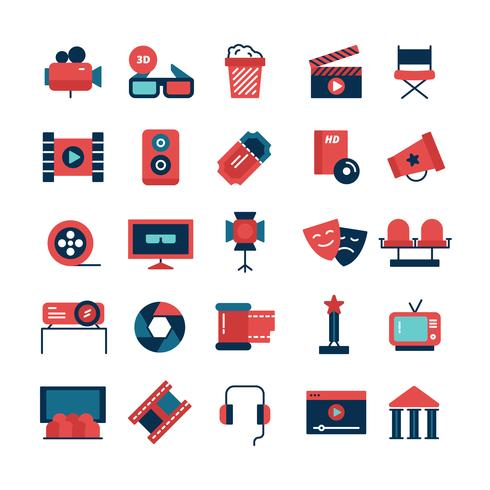 Flat Color Cinema Icons