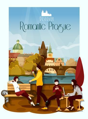 Prag affisch illustration vektor