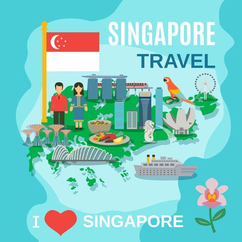 Manifesto nazionale di simboli di viaggio di Singapore
