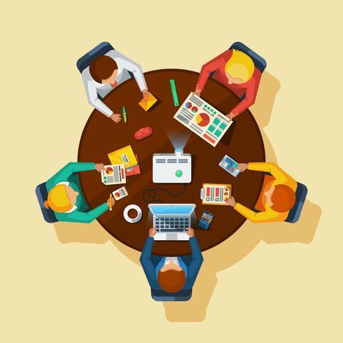 Cartel plano de la vista superior de la reunión de negocios