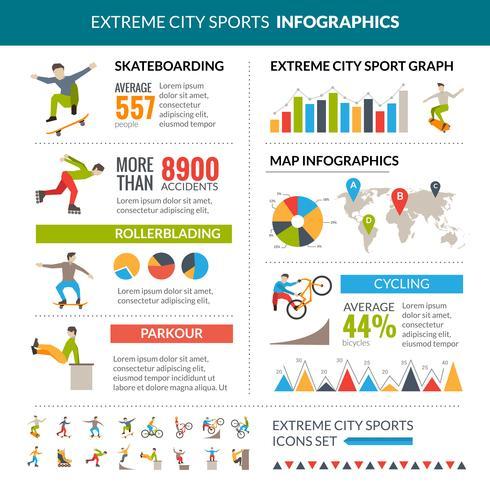 Infografía de deportes de ciudad extrema
