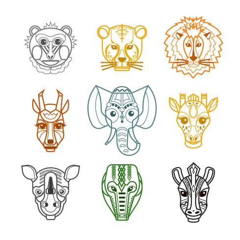 Icone di maschere di teste di animali africani linea