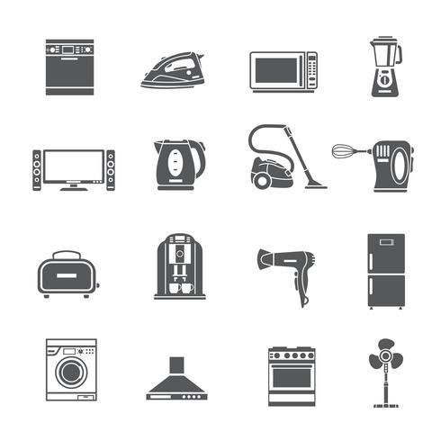 Conjunto de ícones de aparelhos domésticos preto