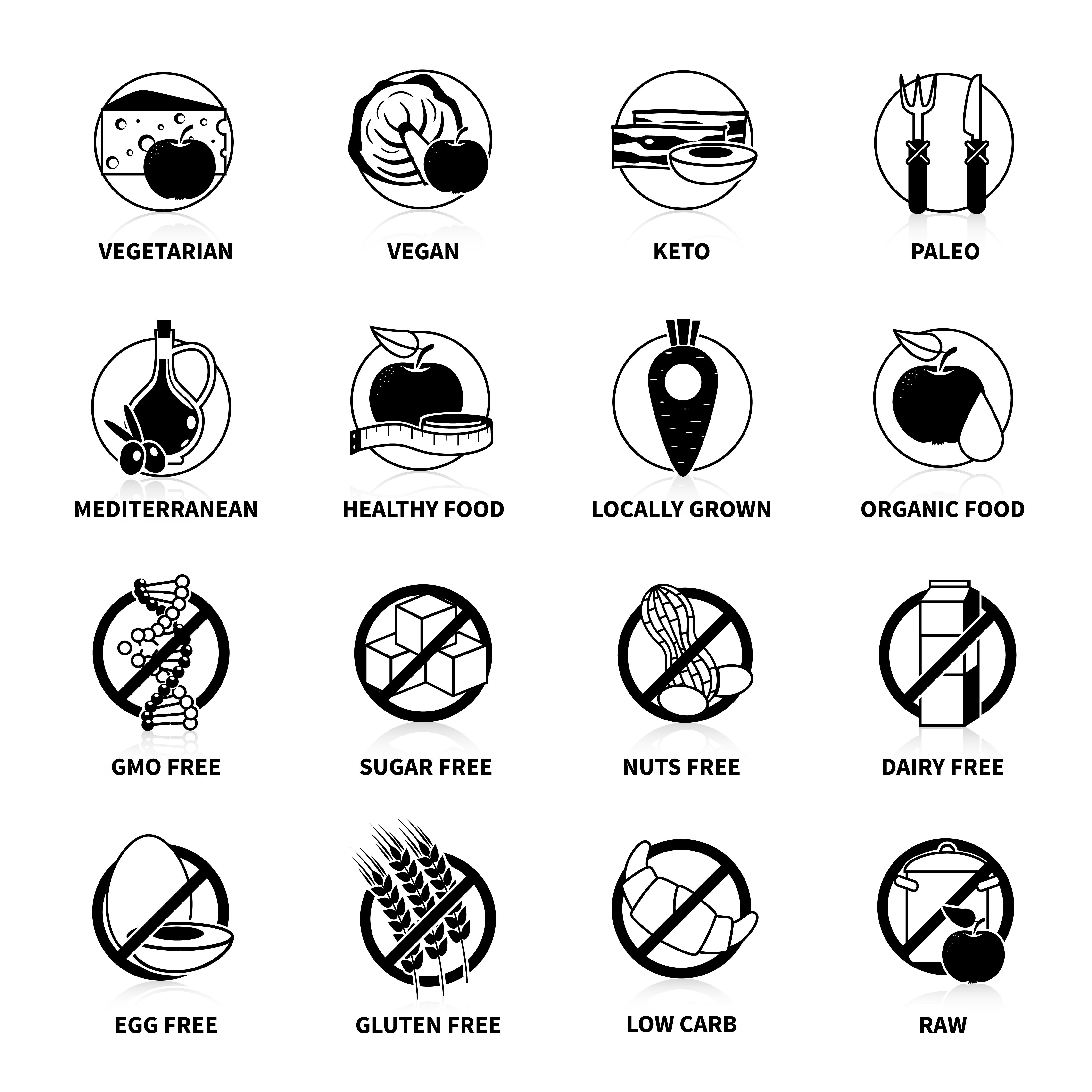 black diets pictogram set